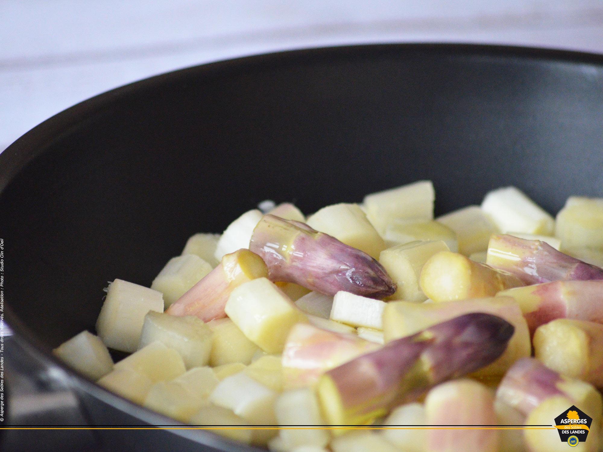 Asperge des Sables des Landes, cuisson à la poêle