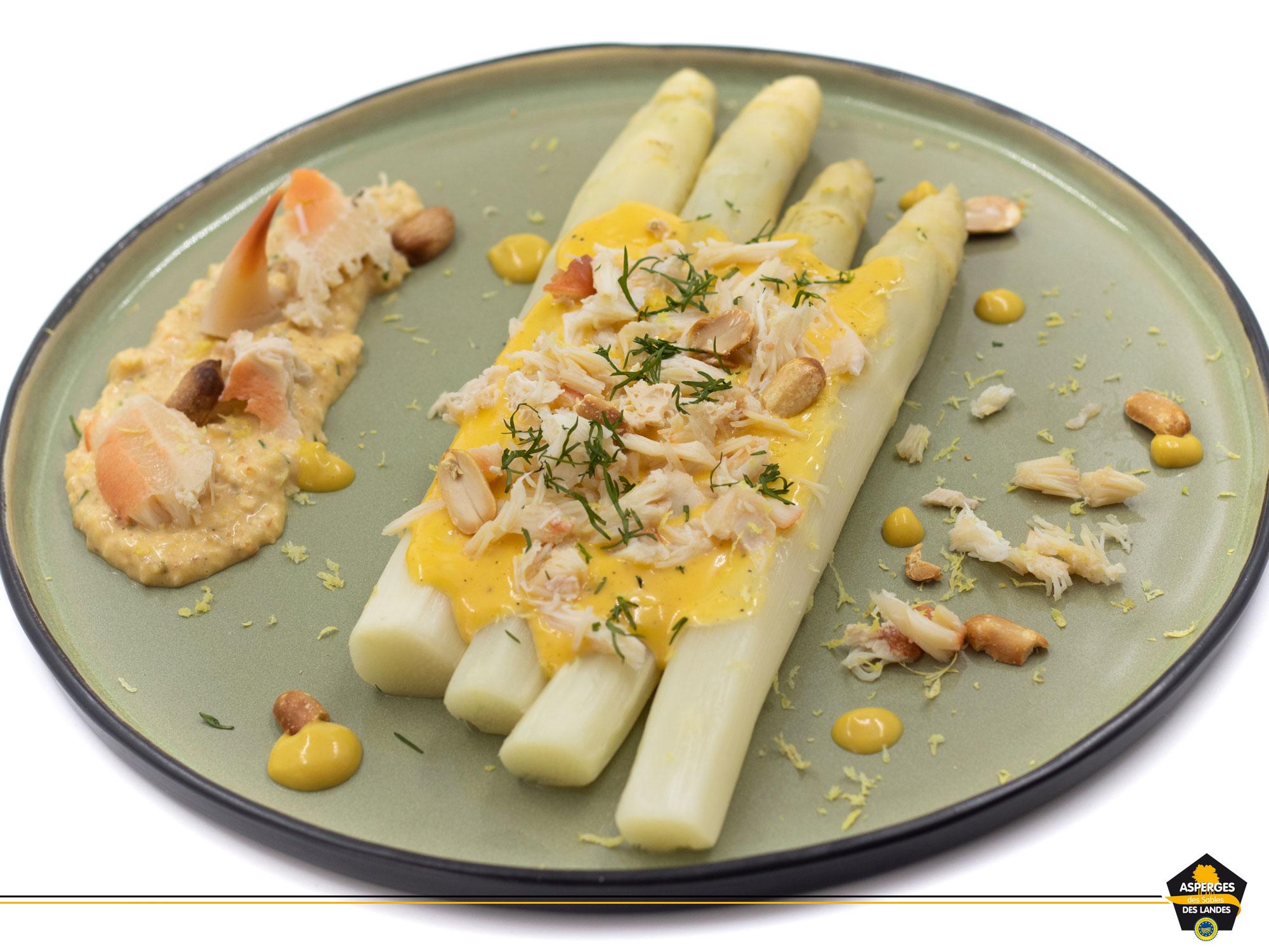 Une recette sublime : Asperges des Sables des Landes, chair de crabe et mayonnaise