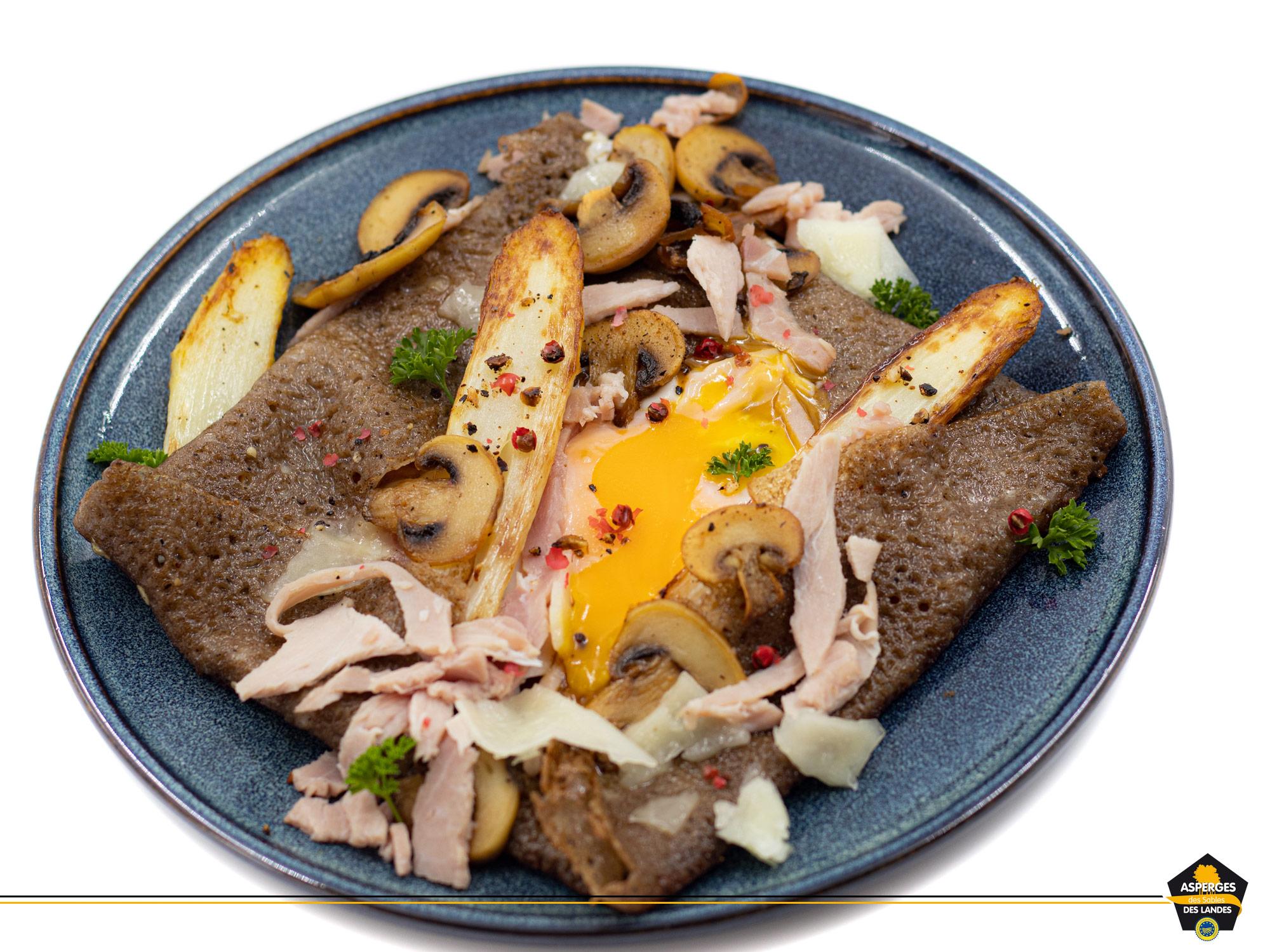 Recette de galette bretonne complète aux Asperges des Sables des Landes, jambon, champignons